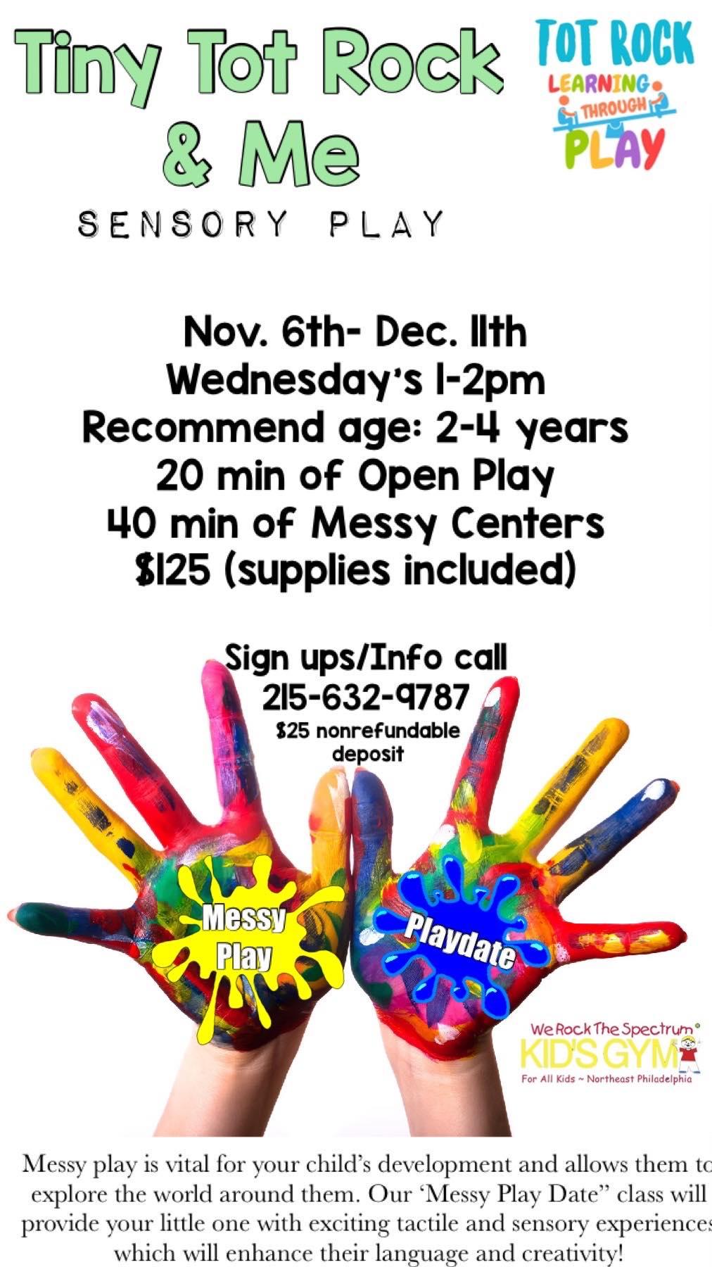 Tot Rock, Messy play Nov.- Dec.